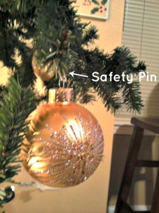 Safety Pins as Ornament Hooks