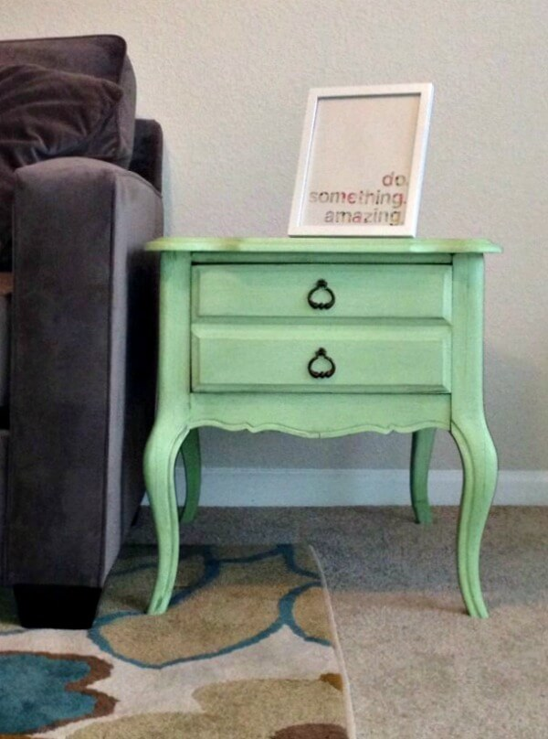 Mint colored side table