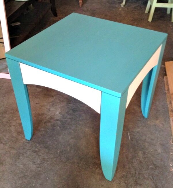 Turquoise and White Side Table