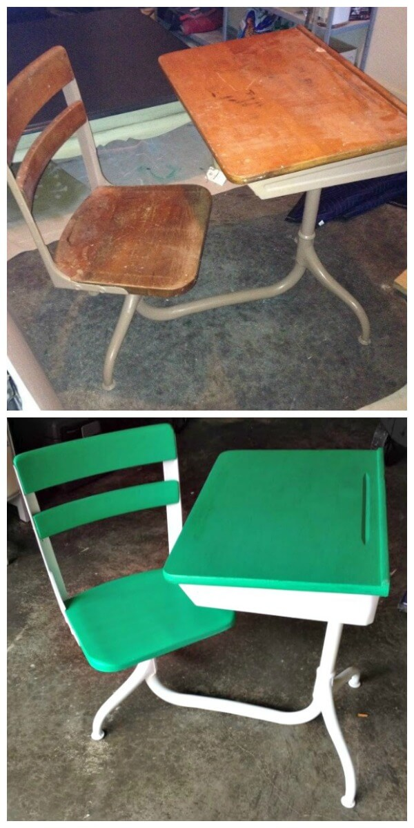 Schooldesk before and after