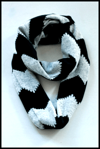 black and gray chevron scarf
