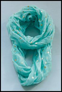 mint polka dot scarf