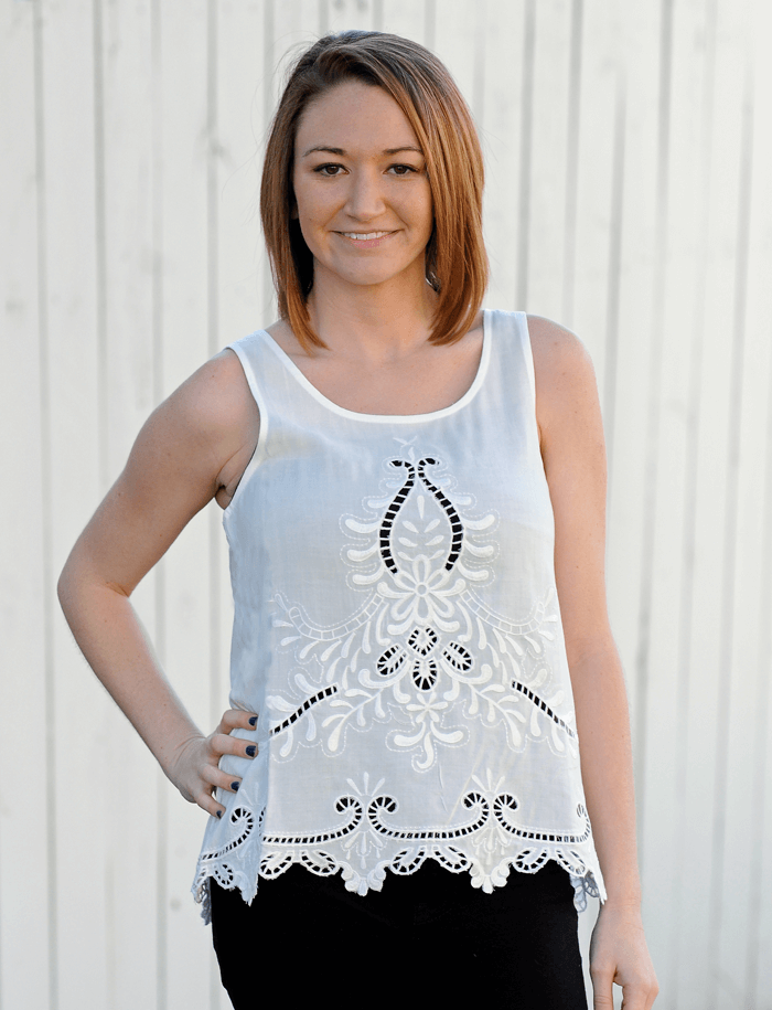 white cut out tank
