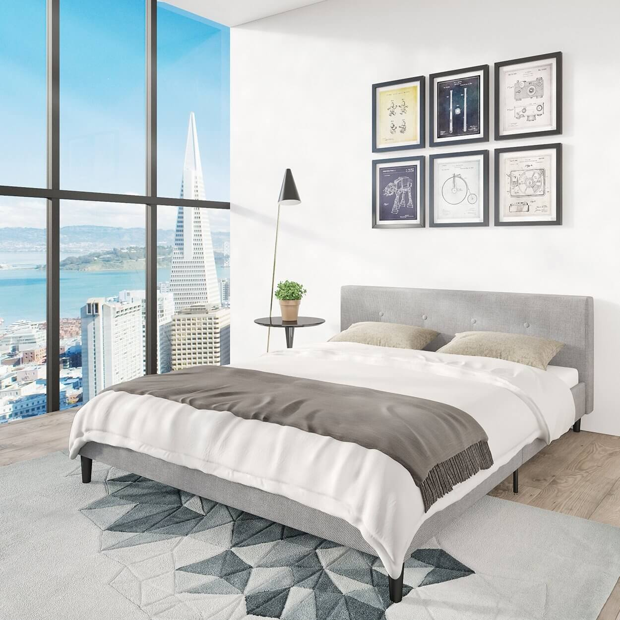 San Francisco Queen Bed Frame | Upholstered Low Profile Headboard ...