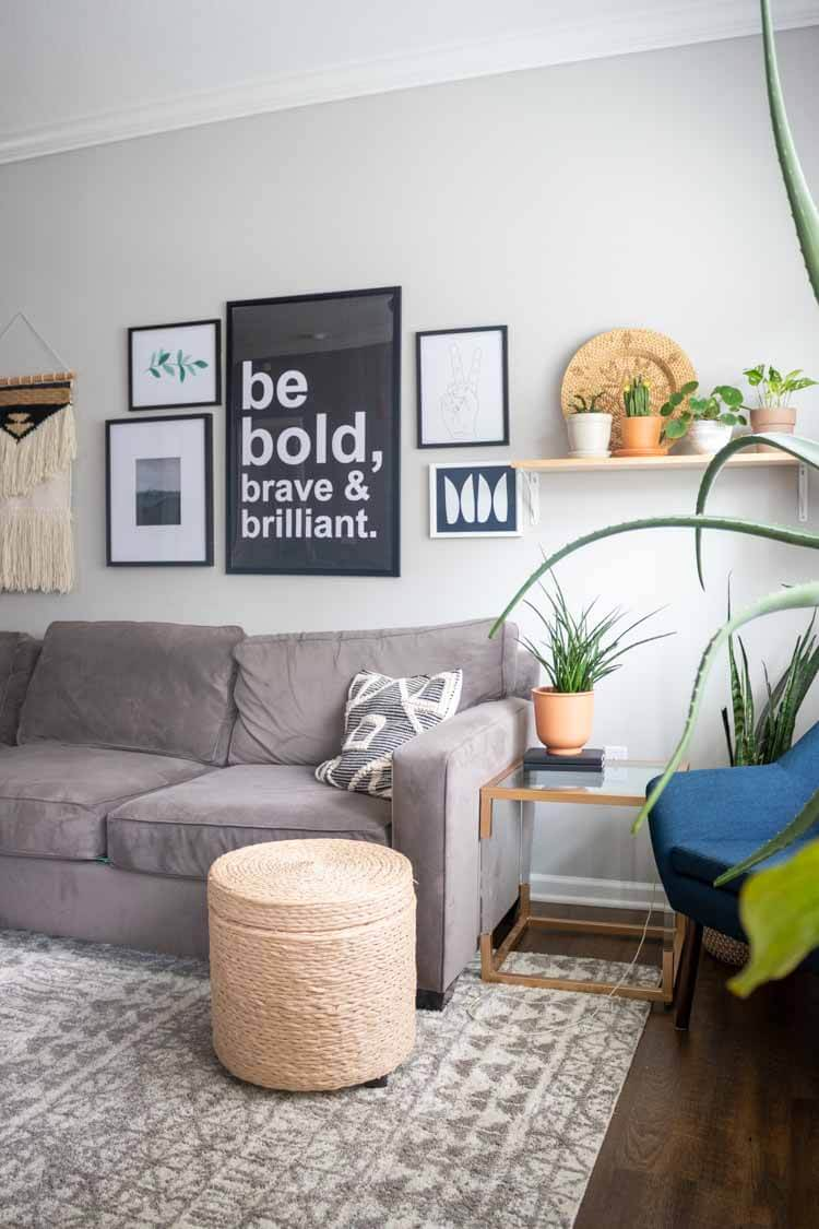 Apartment home tour - living room with gallery wall