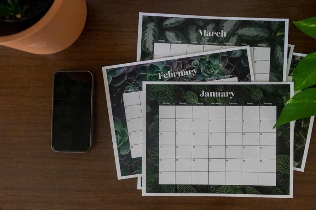 Free 2021 Printable Calendars. Plant designs in both vertical and horizontal layouts.